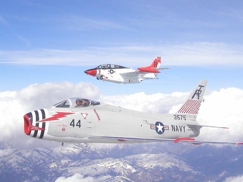 North American T-2 Buckeye with FJ-4 Fury