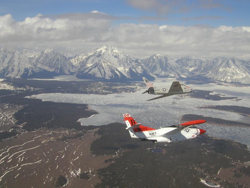 North American T-2 Buckeye over tetons