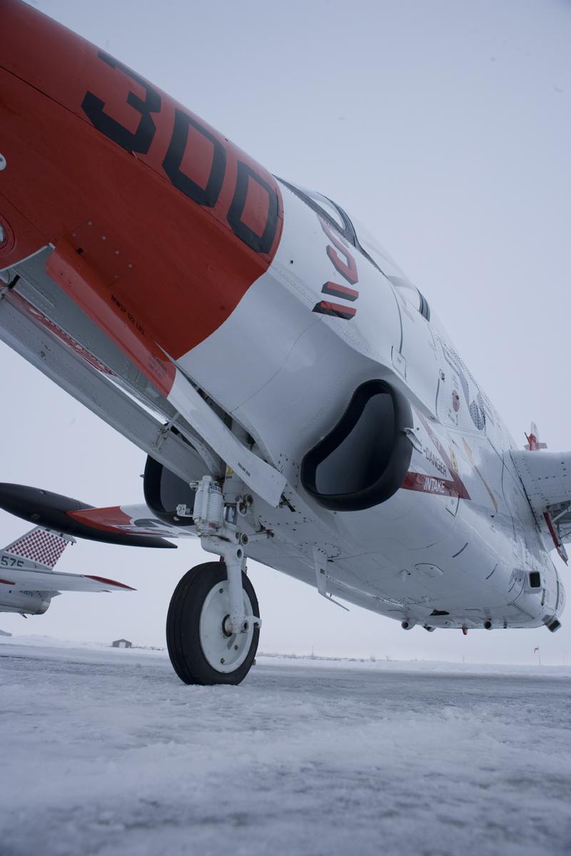 North American T-2 Buckeye on snowy runway