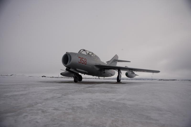 Mikoyan-Gurevich MiG-15 on snowy runway