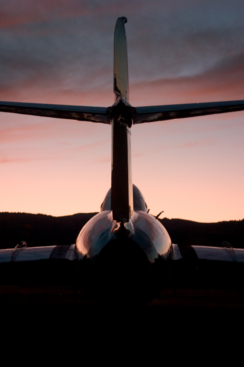 Mikoyan-Gurevich MiG-17 tail view at sunset