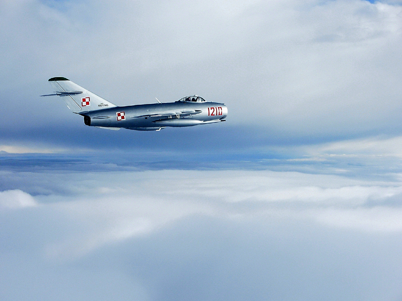 Mikoyan-Gurevich MiG-17 in clouds
