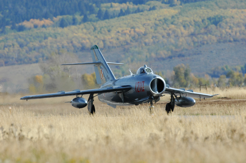 Mikoyan-Gurevich MiG-17 on runway in Driggs Idaho
