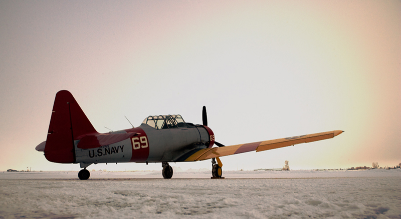 North American T-6 Texan SNJ on runway