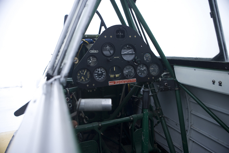 North American T-6 Texan SNJ cockpit with canopy open