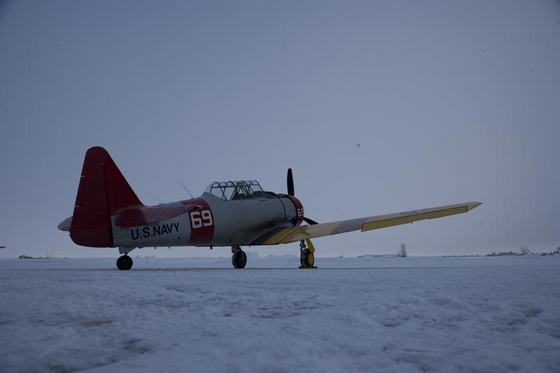 North American T-6 Texan SNJ on snowy runway