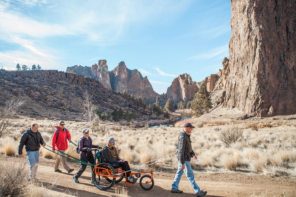 The team heads out to test the AdvenChair at Smith Rock State Park, Oregon