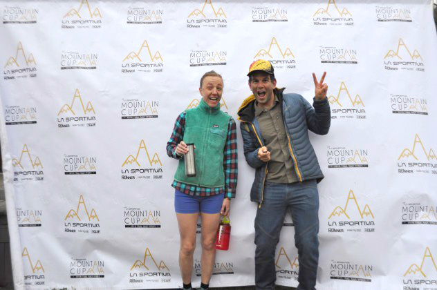Sarah Keyes (1st place female, 50k) and Quinn Carrasco of La Sportiva at the 2016 Hyner Challenge..