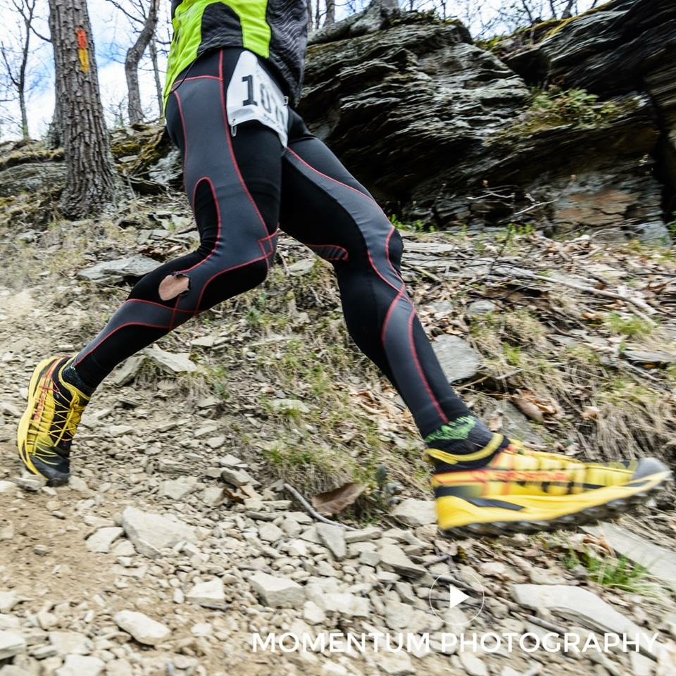 Steve Geyer (one of the PA Trail Dogs) racing down the Hyner View Trail in his La Sportiva Mutants.