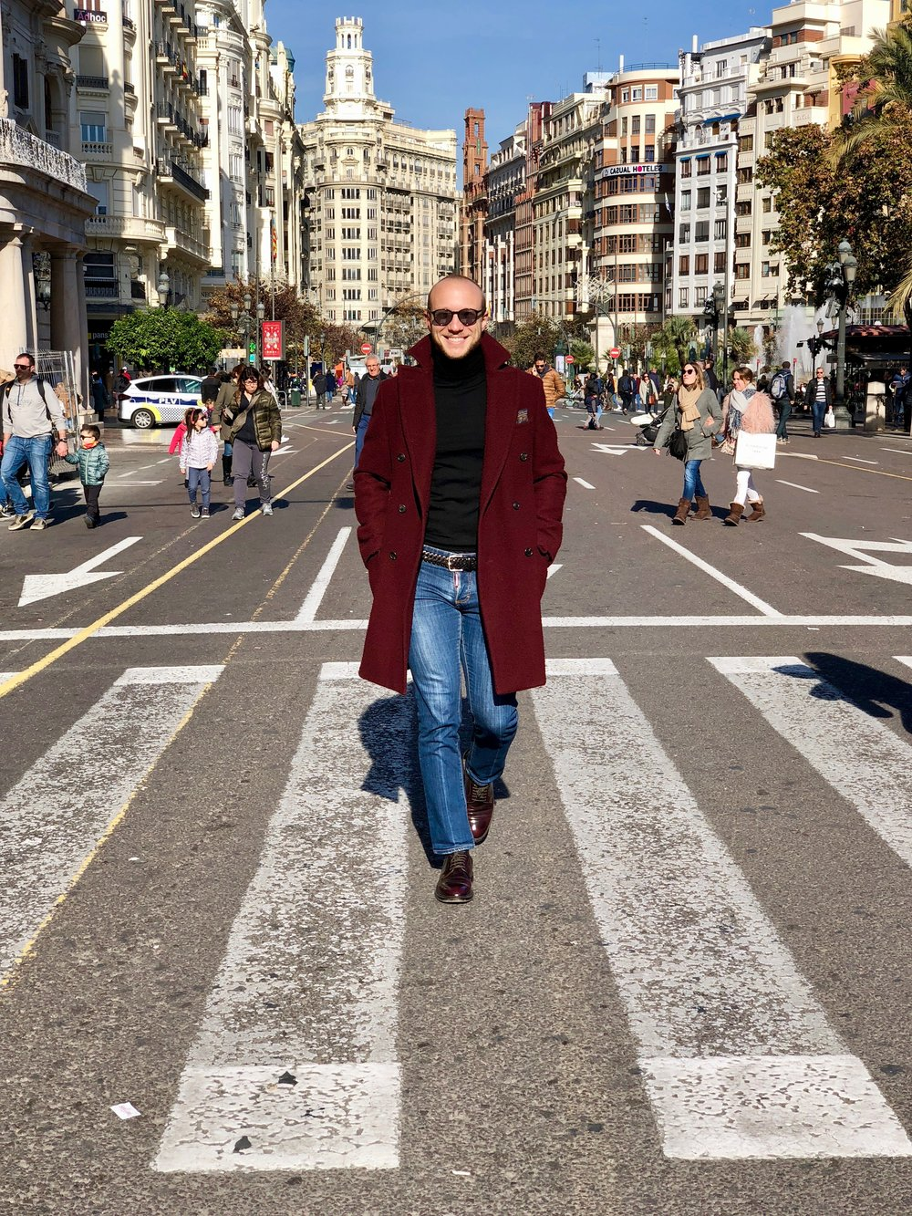 Yours truly, walking around Sunny Valencia on a casual winter afternoon. MTM casentino coat,  Paolo Pecora  merinos turtle neck,  Dsquared2  denim,  Doucal's  cordovan derbies.