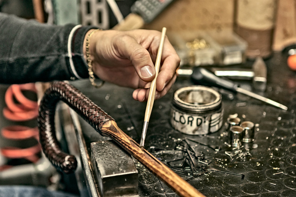 Hand painting details, hazelnut rod and intertwined leather handle.  Photo credit: LucaPradella