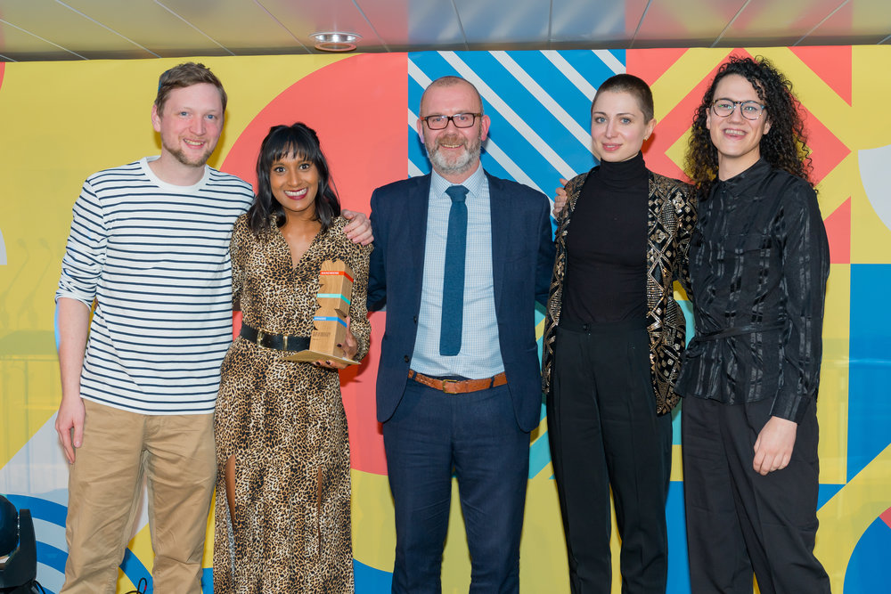 Image: Video Jam receiving the People's Choice Award at the Manchester Culture Awards, 2018.