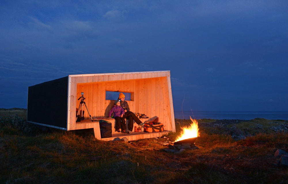 Steilnes bird hide by night & fireplace september 2013 Amundsen Biotope.jpg