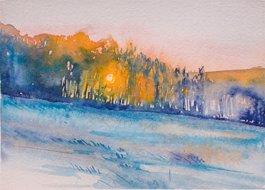 A December Walk watercolor by Angela Fehr600w