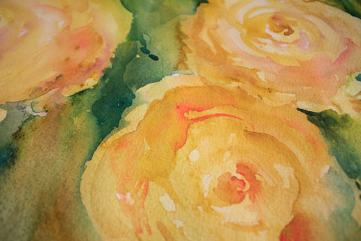 Golden Roses watercolour by Angela Fehr