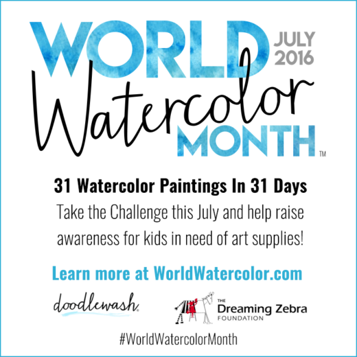 World Watercolor Month Square Badge 31 Paintings