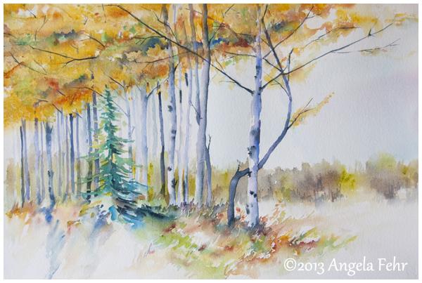 """Autumn's Edge, 14"""" x 21"""" watercolour by Angela Fehr"""