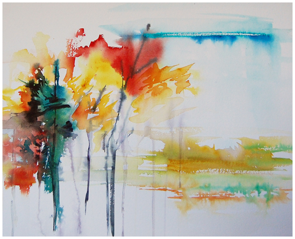 September | abstract watercolour by Angela Fehr