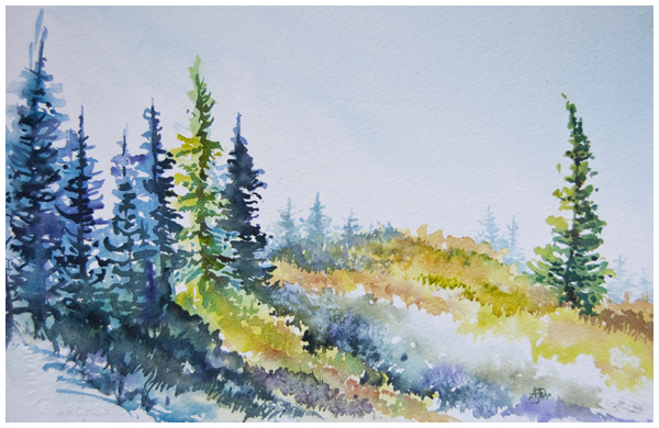 """Huckleberry Hill"" watercolour painting 7x10 inches 