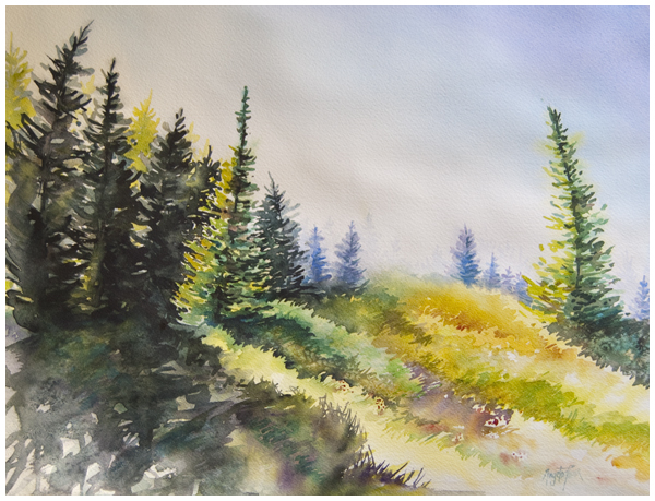 """Huckleberry Hill"" watercolour by Angela Fehr https://angelafehr.com"