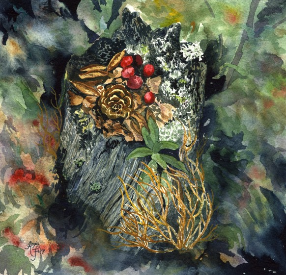 mossy niche | watercolour, Angela Fehr