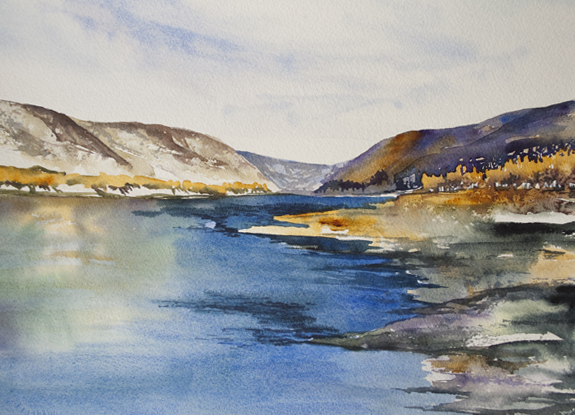 Silver Valley Riverbank | Angela Fehr watercolors