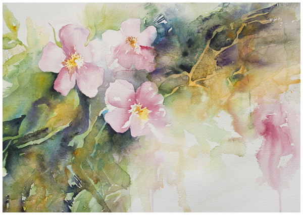Wild Rose Cascade | Angela Fehr watercolors