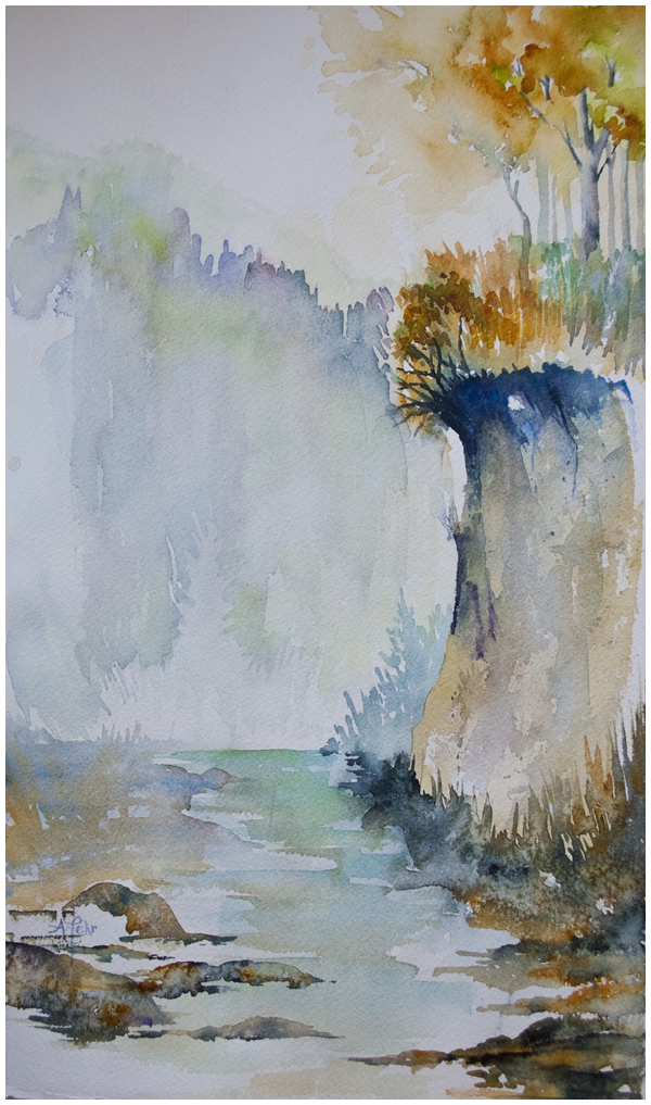 """Riverbank"" | watercolour by Angela Fehr https://angelafehr.com"