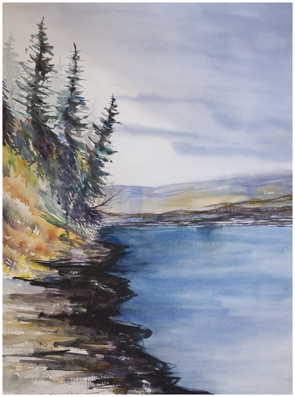 Peace River Corner (full sheet) | watercolour painting by Angela Fehr https://angelafehr.com