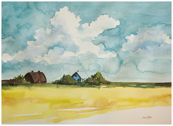 Summer on the Farm watercolor by Angela Fehr https://angelafehr.com