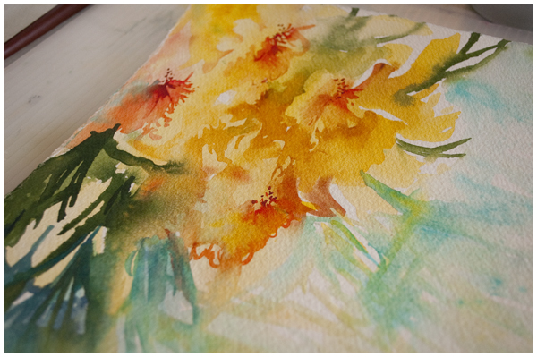 Alstromeria in progress: Angela Fehr watercolours https://angelafehr.com