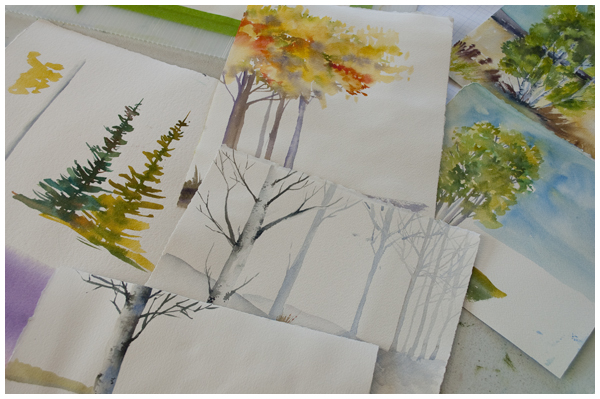 Trees for video demonstration | Angela Fehr watercolours https://angelafehr.com