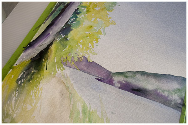 dunvegan corner in progress - Angela Fehr watercolour paintings https://angelafehr.com