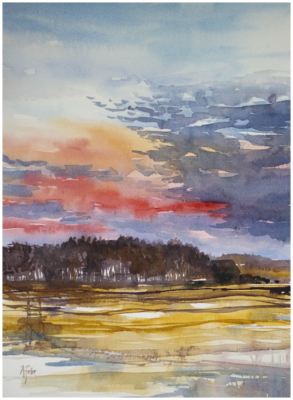 """Saskatchewan Sunset"" watercolour painting by Angela Fehr | angelafehr.com"
