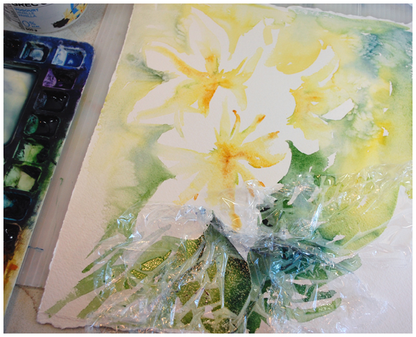 lilies in watercolour - progress pic | Angela Fehr watercolours https://angelafehr.com