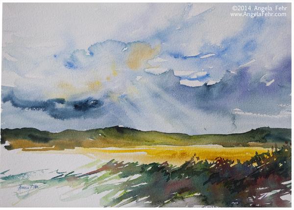 Dusk over Canola | Angela Fehr watercolour paintings https://angelafehr.com