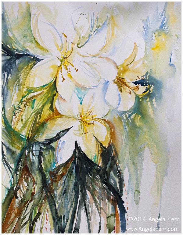 """Easter Lilies"" watercolour, 22"" x 30"" | Angela Fehr watercolors https://angelafehr.com"