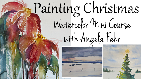 $20 Christmas-Themed Watercolour Course by Angela Fehr