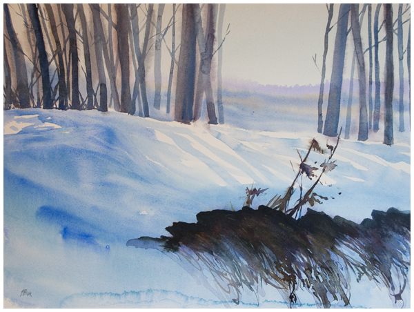 """A Crack in the Hill"" watercolour by Angela Fehr"