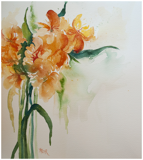 """Alstromeria"" watercolour by Angela Fehr"