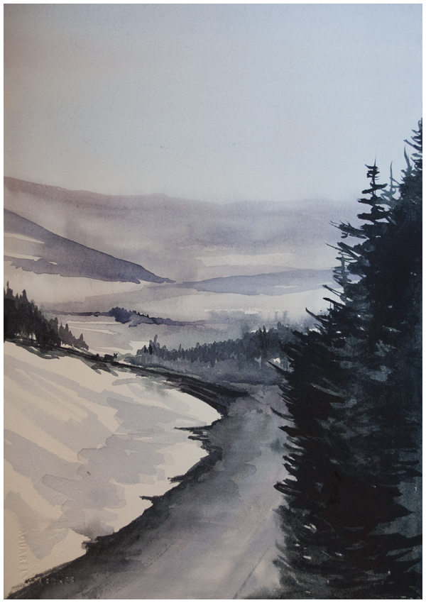 """Bleak Midwinter"" watercolour by Angela Fehr"