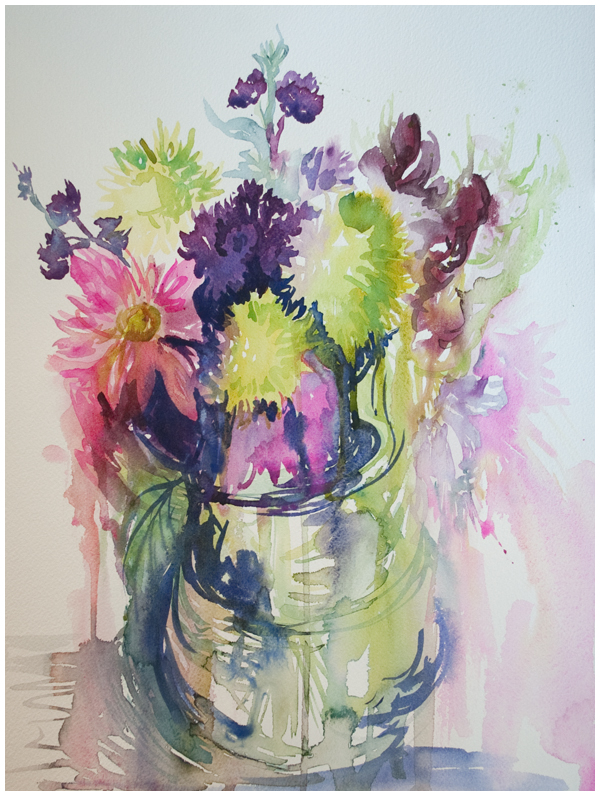 hothouse flowers & vase