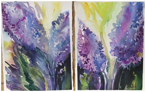 """""""Lilac Sisters"""" 5x7 watercolor by Angela Fehr"""
