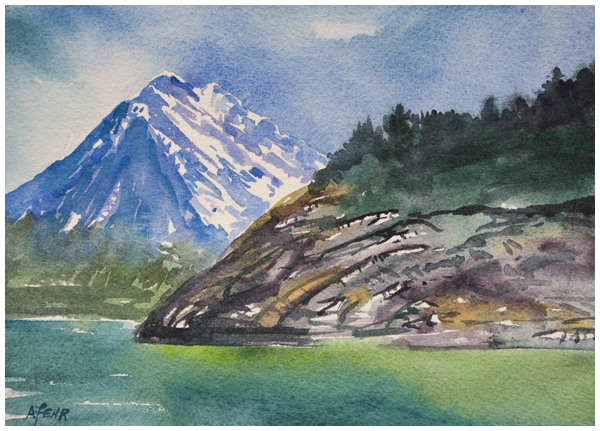 Rockface at Waterton watercolor by Angela Fehr https://angelafehr.com