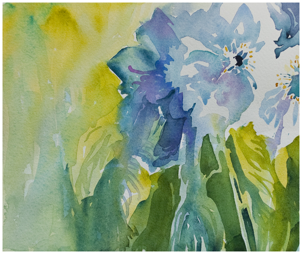 """Blues"" watercolor by Angela Fehr"