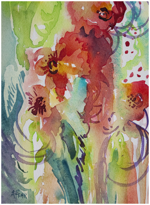 Carnivale, original watercolor painting by Angela Fehr