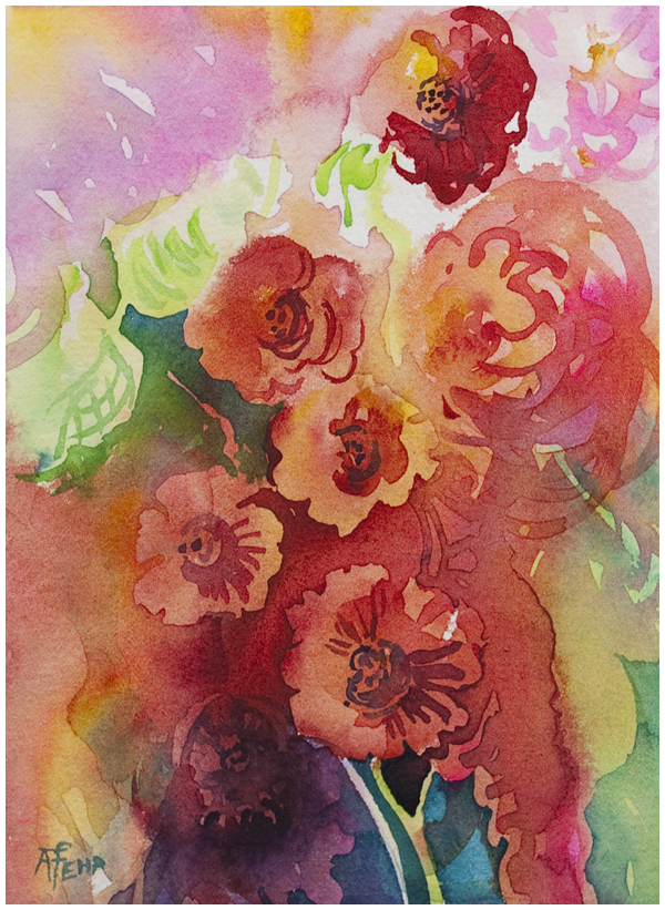 """Reds"" watercolor by Angela Fehr"