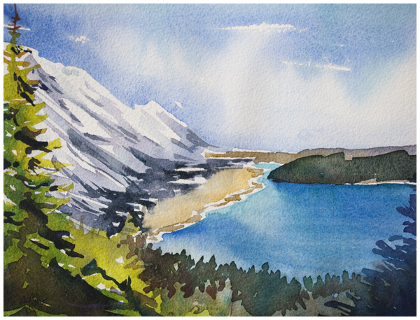 """Waterton Viewpoint"" watercolor by Angela Fehr"