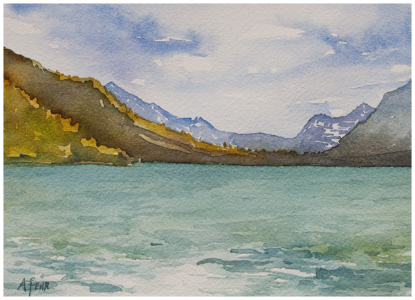 """Waterton's Wake"" watercolor on paper 5x7 inches by Angela Fehr"