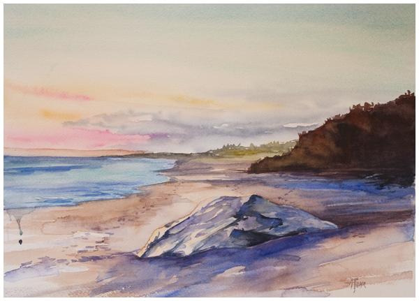 san simeon sunset | Angela Fehr watercolours